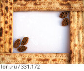 Купить «Рамка из мацы (пресная лепешка) и сухариков на белом фоне», фото № 331172, снято 26 апреля 2008 г. (c) Заноза-Ру / Фотобанк Лори