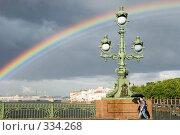 Прогулка под радугой. Радуга над Невой. Санкт-Петербург. (2008 год). Редакционное фото, фотограф Александр Щепин / Фотобанк Лори