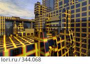Купить «Абстрактный городской пейзаж на фоне облаков», иллюстрация № 344068 (c) Валерий Воронин / Фотобанк Лори