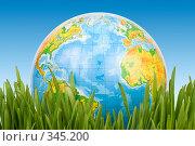 Купить «Глобус в зеленой траве на фоне неба», фото № 345200, снято 8 марта 2008 г. (c) Мельников Дмитрий / Фотобанк Лори