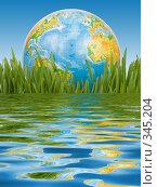 Купить «Глобус в зеленой траве на фоне неба», фото № 345204, снято 8 марта 2008 г. (c) Мельников Дмитрий / Фотобанк Лори