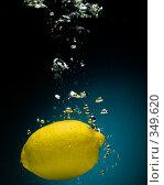 Купить «Свежий лимон в воде на черно-синем фоне с воздушными пузырьками», фото № 349620, снято 6 июля 2008 г. (c) Мельников Дмитрий / Фотобанк Лори