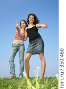 Купить «Две подруги. Two girlfriends beside», фото № 350460, снято 21 июля 2018 г. (c) Losevsky Pavel / Фотобанк Лори