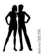 Купить «Силуэты 2 девушек», иллюстрация № 353776 (c) Олеся Сарычева / Фотобанк Лори