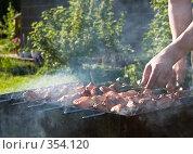 Купить «Приготовление шашлыков на природе», фото № 354120, снято 21 июня 2008 г. (c) Ольга Хорькова / Фотобанк Лори