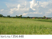 Купить «Деревня на краю поля», фото № 354448, снято 5 июля 2008 г. (c) Елена Бринюк / Фотобанк Лори