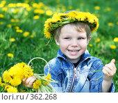 Купить «Счастливый мальчик на лугу с одуванчиками», фото № 362268, снято 28 мая 2008 г. (c) Вероника Галкина / Фотобанк Лори