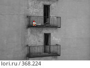 Купить «Игрушечный заяц цвета радуги на балконе старого дома», фото № 368224, снято 21 августа 2004 г. (c) Елена Ликина / Фотобанк Лори
