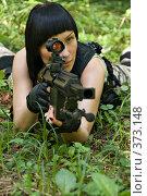 Купить «Девушка с оружием», фото № 373148, снято 24 июля 2008 г. (c) Светлана Силецкая / Фотобанк Лори