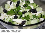 Купить «Салат с брынзой и огурцом», фото № 402500, снято 21 июня 2008 г. (c) Svetlana Bachkala / Фотобанк Лори