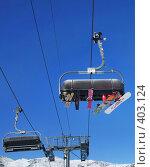 Купить «Лыжи и доски с людьми на кресельном подъемнике», фото № 403124, снято 31 января 2008 г. (c) Fro / Фотобанк Лори
