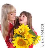 Купить «Счастливые мама с дочкой на белом фоне», фото № 404708, снято 5 августа 2007 г. (c) Гладских Татьяна / Фотобанк Лори