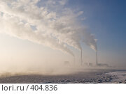 Купить «Трубы Рязанской ГРЭС зимой», фото № 404836, снято 31 декабря 2007 г. (c) Василий Вишневский / Фотобанк Лори