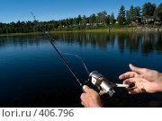 Купить «Удочка рыбака на фоне синей реки», фото № 406796, снято 16 августа 2008 г. (c) Tamara Sushko / Фотобанк Лори
