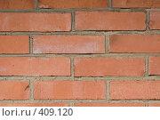 Купить «Красная кирпичная стена, фон», фото № 409120, снято 8 июля 2008 г. (c) Кирилл Курашов / Фотобанк Лори