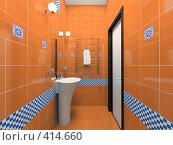 Купить «Интерьер оранжевой ванной комнаты», иллюстрация № 414660 (c) Hemul / Фотобанк Лори