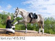 Купить «Девушка-жокей и скаковая лошадь», фото № 415912, снято 3 июня 2020 г. (c) Александр Fanfo / Фотобанк Лори