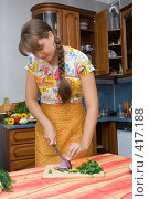 Купить «Девушка режет лук», фото № 417188, снято 22 августа 2008 г. (c) Донцов Евгений Викторович / Фотобанк Лори