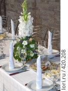 Купить «Праздничный сервированный стол в кафе», фото № 420208, снято 23 августа 2008 г. (c) Федор Королевский / Фотобанк Лори