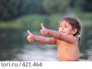 Купить «Улыбающаяся девочка на фоне воды показывает знак одобрения», фото № 421464, снято 23 августа 2008 г. (c) Артём Анисимов / Фотобанк Лори