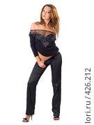 Купить «Сексуальная девушка в черном», фото № 426212, снято 2 июля 2008 г. (c) Сергей Сухоруков / Фотобанк Лори