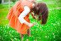 Девочка собирает цветы клевера, эксклюзивное фото № 437672, снято 28 июня 2008 г. (c) Ирина Мойсеева / Фотобанк Лори