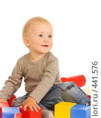 Купить «Маленький мальчик с игрушками на белом фоне», фото № 441576, снято 30 августа 2008 г. (c) Дмитрий Евдокимов / Фотобанк Лори