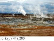 Купить «Пар от горячего источника в зоне вулканической деятельности в Исландии», фото № 449280, снято 23 августа 2008 г. (c) Комаров Константин / Фотобанк Лори