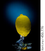 Купить «Свежий лимон в воде на черно-синем фоне с воздушными пузырьками», фото № 450776, снято 9 июля 2008 г. (c) Мельников Дмитрий / Фотобанк Лори