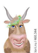 Купить «Летняя корова в венке», иллюстрация № 460344 (c) Олеся Сарычева / Фотобанк Лори