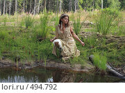 Купить «Аленушка у пруда», фото № 494792, снято 15 августа 2008 г. (c) Сергей Халадад / Фотобанк Лори