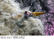 Купить «Каяк  в пороге на бурной реке», фото № 496652, снято 28 июня 2008 г. (c) Комаров Константин / Фотобанк Лори
