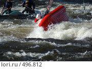 Купить «Надувной каяк в пороге на бурной реке», фото № 496812, снято 28 июня 2008 г. (c) Комаров Константин / Фотобанк Лори
