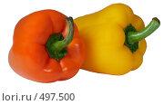 Болгарские сладкие перцы на белом фоне, красный и желтый. Стоковое фото, фотограф Сергей Усс / Фотобанк Лори