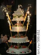 Купить «Четырехэтажный свадебный торт с фейерверком», фото № 500652, снято 5 июля 2008 г. (c) Татьяна Белова / Фотобанк Лори
