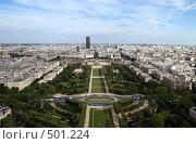 Вид на Париж с Эйфелевой башни, фото № 501224, снято 9 августа 2008 г. (c) Валерия Потапова / Фотобанк Лори