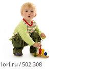 Купить «Годовалый малыш с развивающей игрушкой», фото № 502308, снято 8 октября 2008 г. (c) Лисовская Наталья / Фотобанк Лори