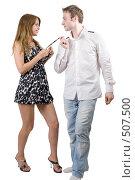 Купить «Молодая красивая пара. Изолировано на белом фоне.», фото № 507500, снято 17 июля 2008 г. (c) Сергей Сухоруков / Фотобанк Лори