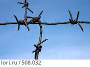 Купить «Колючая проволока на фоне голубого неба», фото № 508032, снято 29 августа 2008 г. (c) Юрий Пономарёв / Фотобанк Лори
