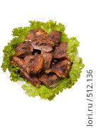 Купить «Кусочки мяса на тарелке - жареный гусь», фото № 512136, снято 17 октября 2008 г. (c) Федор Королевский / Фотобанк Лори