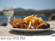Купить «Кальмары,жареные на гриле, с картофелем фри и оливками», фото № 513792, снято 16 сентября 2008 г. (c) Gagara / Фотобанк Лори