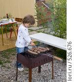 Купить «Ребенок на даче с мангалом», фото № 526676, снято 22 июля 2008 г. (c) Кирилл Савельев / Фотобанк Лори