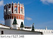Купить «Фрагмент башни и стены Новодевичьего монастыря», фото № 527348, снято 25 октября 2008 г. (c) Владимир Казарин / Фотобанк Лори