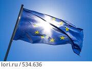 Купить «Развевающийся флаг Европы», фото № 534636, снято 31 июля 2007 г. (c) Александр Чермянин / Фотобанк Лори