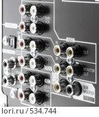 Купить «Задняя панель современного аудио видео ресивера», фото № 534744, снято 12 октября 2008 г. (c) Квитченко Лев / Фотобанк Лори