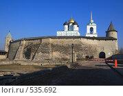 Купить «Псков. Стена Кремля и Троицкий собор», фото № 535692, снято 5 апреля 2008 г. (c) АЛЕКСАНДР МИХЕИЧЕВ / Фотобанк Лори