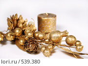 Купить «Свеча и золотая ветка», фото № 539380, снято 28 октября 2008 г. (c) Логинова Елена / Фотобанк Лори