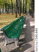 Купить «Скамейка в парке», фото № 544444, снято 9 октября 2008 г. (c) Андрюхина Анастасия / Фотобанк Лори