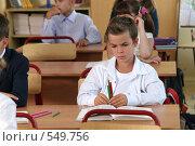 Купить «Мальчик за партой в школе на уроке с фломастерами в руках», фото № 549756, снято 23 августа 2008 г. (c) Татьяна Белова / Фотобанк Лори