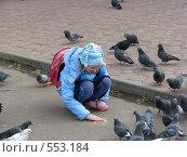 Купить «Девочка и голуби», фото № 553184, снято 3 ноября 2008 г. (c) Алексей Гунев / Фотобанк Лори